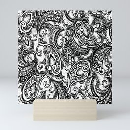paisley batik black Mini Art Print