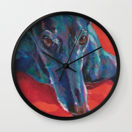 Greyhound on Red Wall Clock