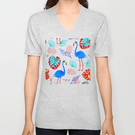 Tropical Flamingo Pattern Unisex V-Neck
