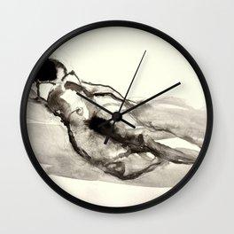 Sleeping nude, drawing Wall Clock