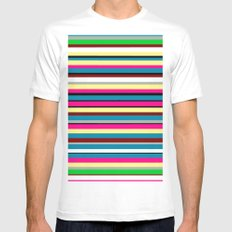 Stripes MEDIUM White Mens Fitted Tee
