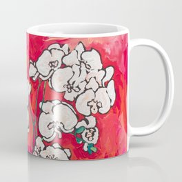 Orchid in Chinoiserie Bird Pot on Pink, Coral and Red Background Floral Still Life Painting Matisse Coffee Mug