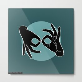 Sign Language (ASL) Interpreter – Black on Turquoise 07 Metal Print