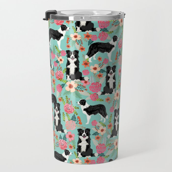 border collie cute florals mint pink black and white dog gifts for dog lover Travel Mug