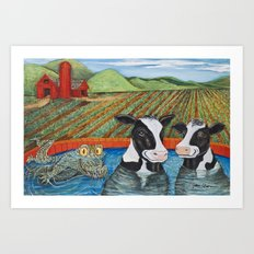 Cows in a Hot Tub Art Print