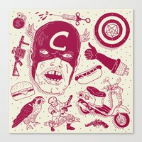 superheros Canvas Prints featuring Craptain America by Josh Ln