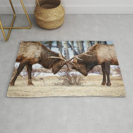 ELK IN RUT COLORADO ROCKY MOUNTAIN NATIONAL PARK WILDLIFE NATURE PHOTOGRAPHY Rug