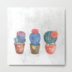 Three Blue Cacti watercolor Metal Print