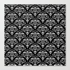 damask pattern back and white Canvas Print