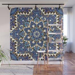 Spiritual Yoga Sacred Geometry Hindu Pilates Yogi Asia Mandala Ornate blue pattern. Wall Mural