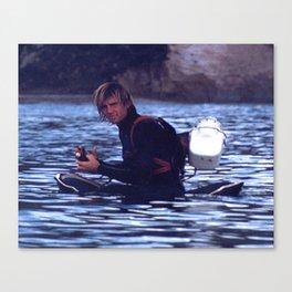 Greenough prepares to film waves Canvas Print