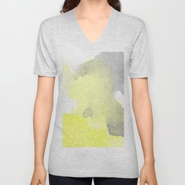 Yellow and Gray Ombre Watercolor  Unisex V-Neck