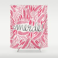 french Shower Curtains featuring Pardon My French – Pink by Cat Coquillette