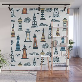 Cool Lighthouse Pattern with Birds and Clouds Wall Mural