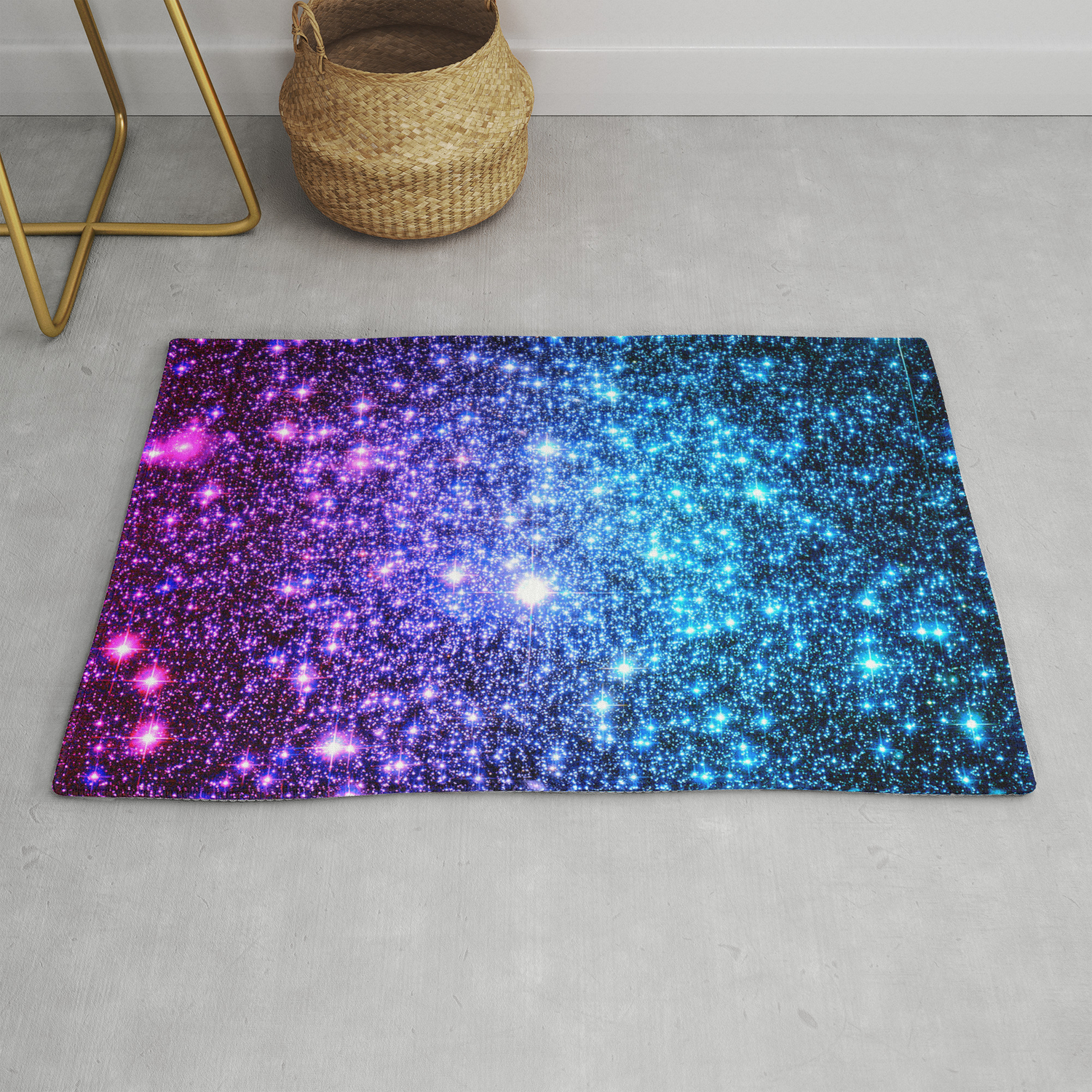 Picture of: Glitter Galaxy Stars Turquoise Blue Purple Hot Pink Ombre Rug By Vintageby2sweet Society6