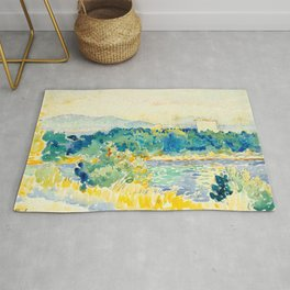 Mediterranean Landscape With a White House Watercolor Landscape Painting Rug