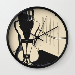 Erotic BDSM art, sexy kitten slave girl, kneeling tied with her leash, nude woman in submissive pose Wall Clock