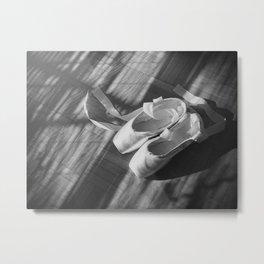 Ballet dance shoes. Black and White version. Metal Print
