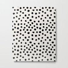 Preppy brushstroke free polka dots black and white spots dots dalmation animal spots design minimal Metal Print