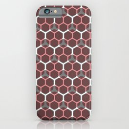 Hexagon pattern in red iPhone Case