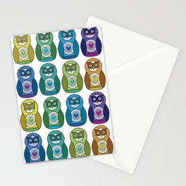 Rainbow Matryoshka Owl Stationery Cards