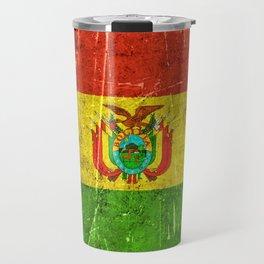 Vintage Aged and Scratched Bolivian Flag Travel Mug