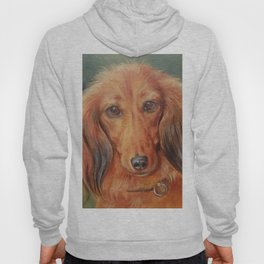 Teckel Dachshund Red Dog Cute Pet Portrait on green background Autumn colours Oil painting on canvas Hoody