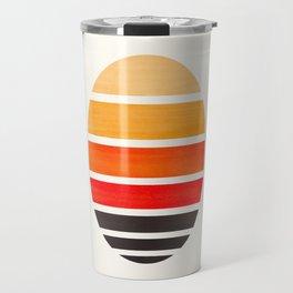 Orange Mid Century Modern Minimalist Circle Round Photo Staggered Sunset Geometric Stripe Design Travel Mug