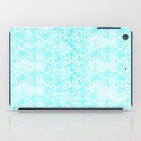 aqua iPad Cases featuring Aqua Blue Damask by 2sweet4words Designs