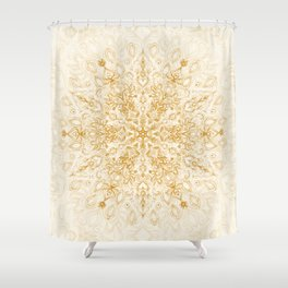 Sepia Snowflake Doodle Shower Curtain