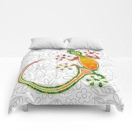 Gecko Floral Tribal Art Comforters