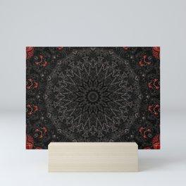 Red and Black Bohemian Mandala Design Mini Art Print