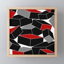 Falling - Abstract - Black, Gray, Red, White Framed Mini Art Print