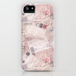 Nostalgic Letter and Postcard Collage Soft Pink iPhone Case