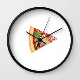 Pizza Slice Matching Couples Food Theme T-Shirt Wall Clock