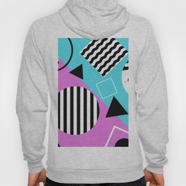 Stripes And Splats 1 - Wacky, Random, Abstract, Black And White Stripes, Blue and pink Artwork Hoody