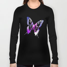 Abstract Purple Paint Pattern Long Sleeve T-shirt