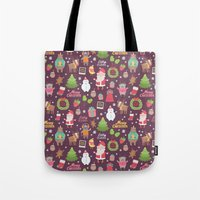 merry christmas Tote Bags featuring Merry Christmas by Anna Alekseeva kostolom3000
