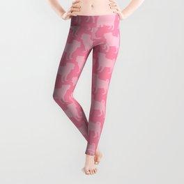 Pastel Pink Pugs Pattern Leggings