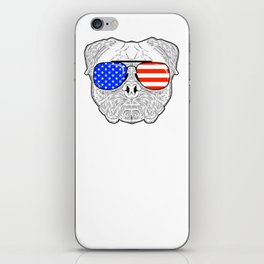 Patriotic July 4th American Flag Pug Dog Face with Sunglasses for Independence Day Celebrations iPhone Skin