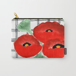 Poppies and Plaid Carry-All Pouch