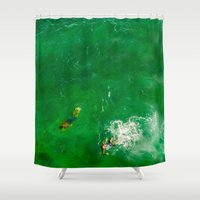 swimming Shower Curtains featuring Swimming by Carloe
