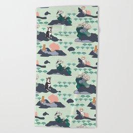 Adventure Shibas Beach Towel