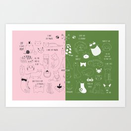 Cute Cat Doodles on pink and green Art Print