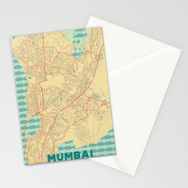 Mumbai Map Retro Stationery Cards