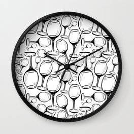 Print with wine glasses. Drawn wine glasses, sketch style. Black on white Wall Clock