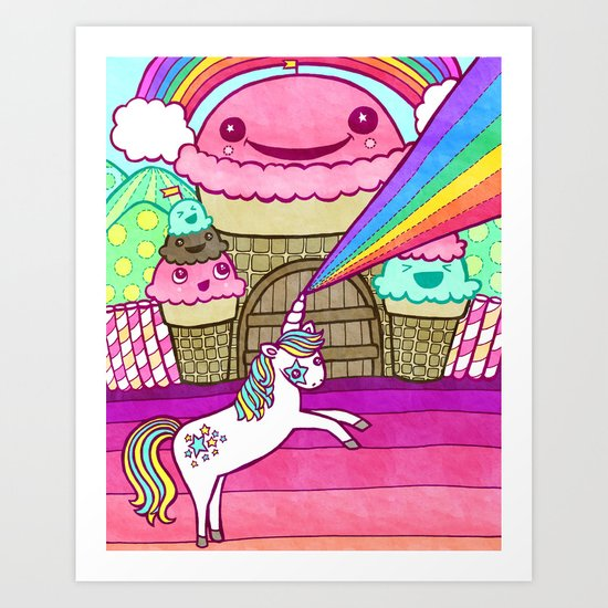 Unicorn and Ice Cream Kingdom Art Print