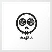 DarkSpirals Collection: Skull Black Art Print