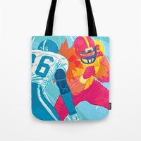 nfl Tote Bags featuring American Football by felixdrewthis