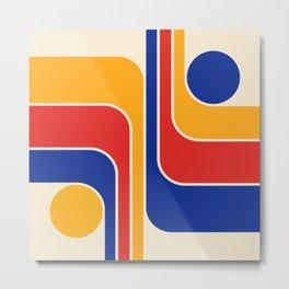 Retro Geometric Gradated Design 738 Metal Print